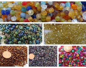 Rocaille perles verre unie ou mix couleurs formes rondes ou tubes par 20 grammes DIY création bijoux déco