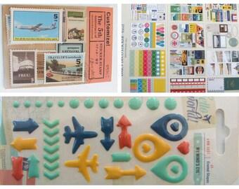Stickers Voyage Vacances autocollants Transports Timbres Panneaux Scrapbooking Carterie Embellissement