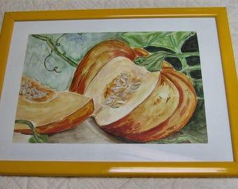 original watercolor pumpkin coaster