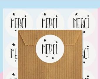 48 étiquettes cadeaux autocollantes Merci, stickers, Emballage cadeaux, Packaging stickers, autocollant remerciement