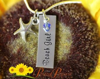 Beach Girl Necklace - Starfish Charm Jewelry - Life is a Beach Necklace - Fun at the Beach Jewelry - Birthday Gift - Hand Stamped