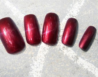 Blood of my Enemies - square or round tip false nails press on full cover nails blood red cosplay costume drag queen gloss or matte finish