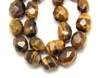 Oval Shape Natural Tiger Eye Beads,Smooth Faceted Tiger Eye Nugget Loose Beads,20pcs/str