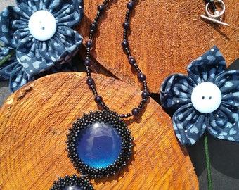 Navy Blue Necklace, handmade beaded evening wear, lbt, statement, UK seller