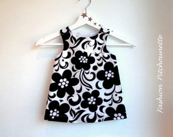 "Dress ""ISA"" 6-36 months, black and white scalable, trapezoid, cotton dress"