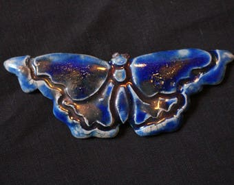 Raku Ceramic Butterfly Brooch with Amethyst eyes