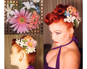 Multi color pinup hair flower