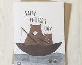 Fishing Bears - Father's Day Card, Fishing Card, Bear Father's Day, Happy Father's Day, Fatherhood card, Card for dad, Papa Bear Card