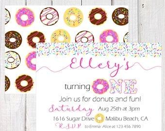 Donut Invitation, Donut first birthday invitation, Donut party invitation, donut wall, Pink sprinkles donut invitation, double sided invite.
