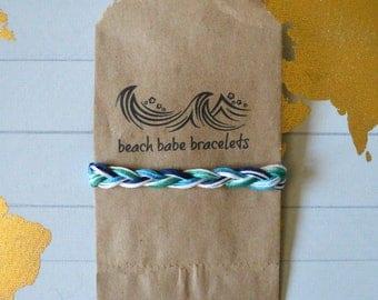"Beach Babe Bracelets - ""White Caps"" - Braided Handmade Friendship Bracelet"