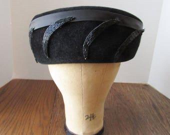 Vintage Black Velour Hat with Beads Antique Beading Roberta Bernays Original