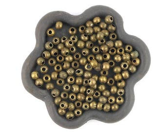 x 200 beads 3mm round bronze metal (108C)