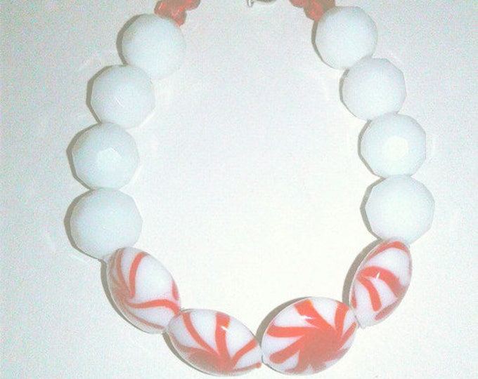 White Beaded Candy Cane Bracelet