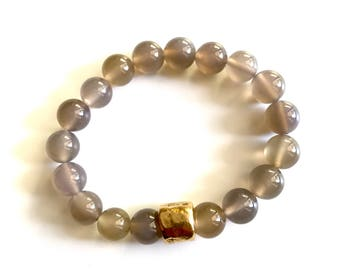 SAM BRACELET * natural gray agate stones with brass accent