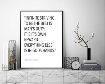 Everything Else Is In Gods Hands. Wall Art, Art Print, Typography Poster, Black and White, Scandinavian Art, Minimalist