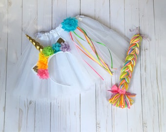 Rainbow unicorn costume - unicorn tutu - pastel uicorn tutu - girls dress up -  gold uicorn headband - girls Christmas gift - unicorn lover
