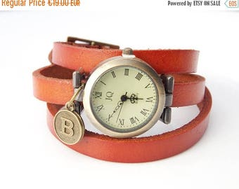 Sale Personalized watch Rustic leather watch Gift for women's Handstamped gift Three laps wrist watch Vintage initial watch Personalized gif