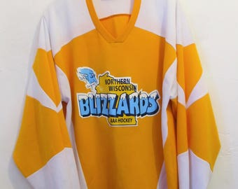 A SP0RTY,Vintage 90's,2-Tone #19 BLIZZARDS,ICE HOCKEY Jersey By Teamwork.L(42R)