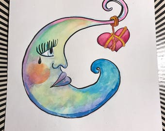 Lonely Moon watercolor painting