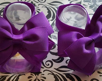 Purple Double Bow Baby Barefoot Sandals