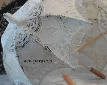 White Lace Parasol w/Organza Lace