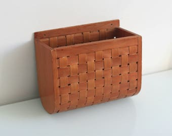 Vintage Magazine Holder - Newspaper Wall Holder - Wooden Magazine Holder - Wooden Wall Storage Box - Hanging Wooden Basket