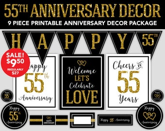 55th Anniversary - Happy Anniversary Decorations - 55th Wedding Anniversary Party Decor - DIY Party - Printable Anniversary Decorations