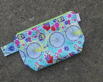 Bicycles and Butterflies Aqua Knitting Project Bag! Zippered Wedge 2 Skein Size!