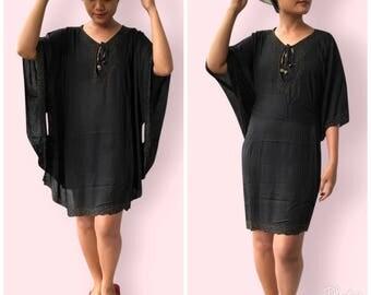 Black beaded beach dress, BW06 Black, beach dress,  holiday, maternity wear, lounge wear, poolside party wear, party dress, fun dress