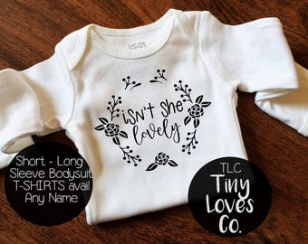 Isn't she Lovely bodysuit, black and white baby girl, shower gift, Newborn Baby coming home outfit,  personalized baby, Girl baby gift.
