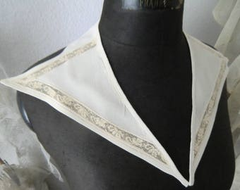 Beautiful vintage collar creamy organza with lace 30s 40s 50s ~ boudoir shabby chic