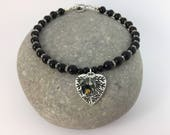 Black Onyx and Dimate Swarovski Cluster Crysyal Leaf Beaded Anklet Chunky Contemporary Ankle Chain Crystal Sparkle