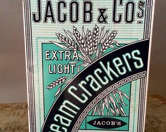 Jacob and Co Tin, Jacob and Co Cream Crackers Collectible Tin, Vintage Decor, Storage Tin Decor