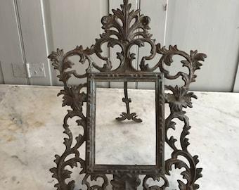 Antique metal bronze photograph photo mirror picture frame