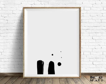 Abstract art print Abstract wall art Abstract print Brush strokes decor Abstract poster Abstract brush art Paint black stroke art Wall print