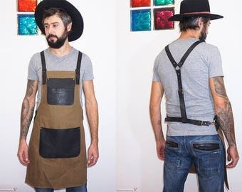 Canvas leather apron, canvas apron men, leather braces, blacksmith's apron, barista apron, barber work apron, grilling apron, tattooist's