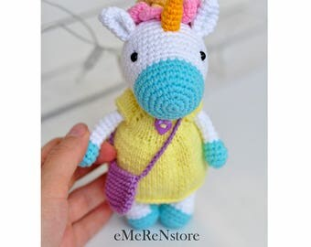 Cute unicorn in dress/Crochet unicorn/Unicorn stuffed toy/Amigurumi unicorn/Nursery Kids Gift/ an excellent stuffed animal toy for children.