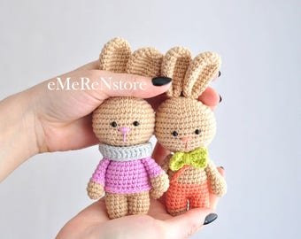 Set of 2 Little Cute bunny-Stuffed Animal-Amigurumi rabbit-plush bunny-Stuffed bunny toy-newborn props.New Baby Gift.Nursery Decor
