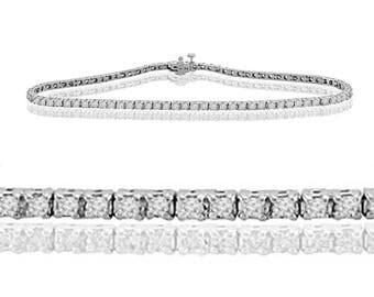 1.00ct Round Brilliant Diamond 14k White Gold Ladies Tennis Bracelet 7 Inch