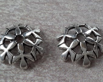 20 pcs, openwork flower caps, end caps beads caps brass, flowers, silver plated bead caps, 10 x 10 mm