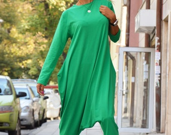 Green Cotton Jumpsuit With Zipper, Casual Drop Crotch Pants, Extravagant Long Sleeves, Maxi Jumpsuit by SSDfashion