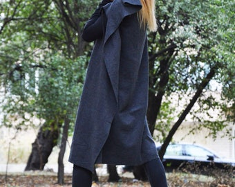 Winter Dark Gray Zipper Vest, Asymmetric Wool Maxi Coat, Extravagant Cashmere Loose Vest by SSDfashion