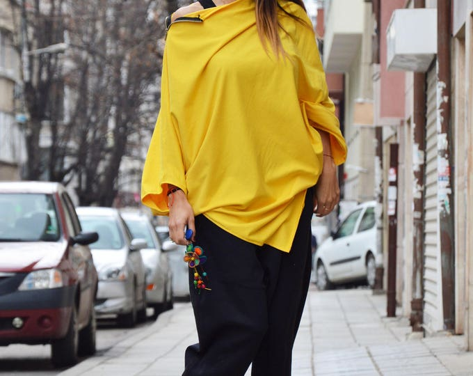 Yellow Asymmetrical Tunic, Extravagant Loose Tunic Тоp, Plus Size Zipper Top, Maxi Cotton Tunic by SSDfashion