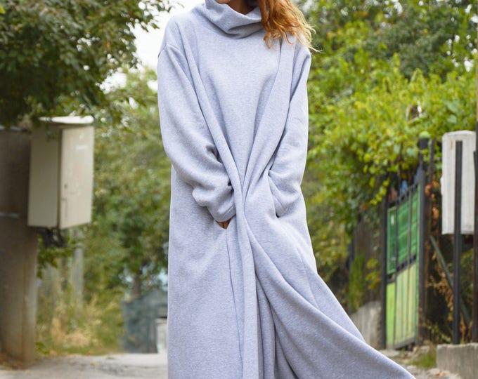 Grey Kaftan Turtleneck Dress, Daywear Long Maxi Dress, Casual Extravagant Cotton Dress by SSDfashion