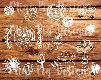 Handdrawn Floral embellishments SVG