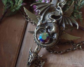 Magic Key, fantasy key, Winged key, Winged pendant, Large Key, Fantasy jewelry, Necklace Key, Pedant key, Dragon key, dragon,Fantasy pendant