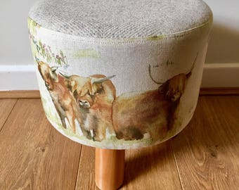 Scottish Highland cow and wool footstool