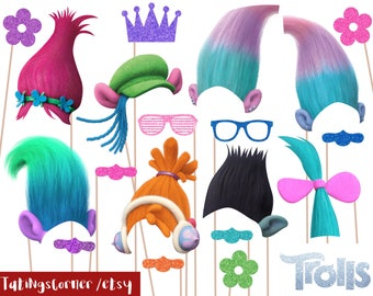 Trolls Photo Booth Props - Trolls Birthday Party - Trolls photobooth props - Trolls party props - instant download