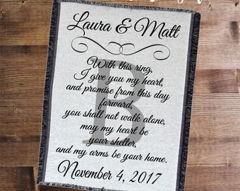 Personalized Blanket, Wedding Gift, Vows Blanket, Anniversary Gift, Wedding Shower Gift, Gift for the Couple, Anniversary Blanket, Throw