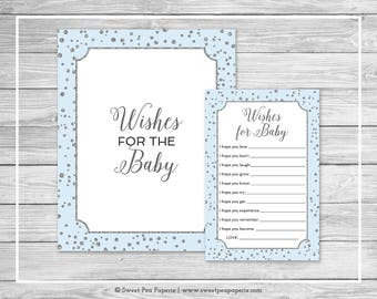 Blue and Silver Baby Shower Wishes for Baby Cards - Printable Baby Shower Wishes for Baby Cards - Blue and Silver Baby Shower Wishes - SP151